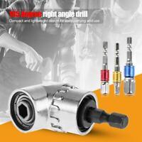 "105 Degree Right Angle Drill Bit + 1/4"" 3/8"" 1/2"" Hex Shank Socket Adapter Set"