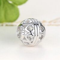 Authentic 925 Sterling Silver Love Heart Charms Beads Fit Original Bracelet New