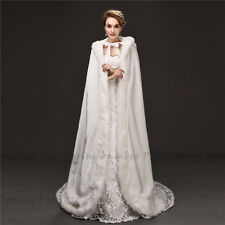 White Faux Fur Jacket Wrap Women Wedding Long Shrug Princess Bolero Shawl Cape