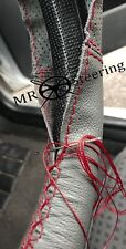 FOR PEUGEOT 505 79-92 GREY TWO TONE LEATHER STEERING WHEEL COVER DARK RED STITCH