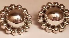 Vintage 925 Sterling Silver Mexico TJ-15 Flower/Concho Style Earrings
