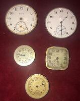 Antique Elgin National Watch Co Job Lot (5)Pocket/Watch Movements & Parts