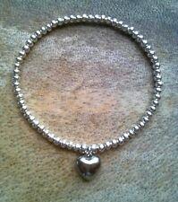 Simple Silver Ball Plated Beaded 3D Heart Charm Stretch Bracelet Bangle HANDMADE