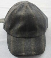 John Varvatos Star USA Logo Black Brown Plaid Wool Adj Leather Cap Hat NWT  S/M