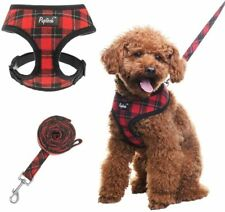 Small Dog Harness & Lead Set - Soft Mesh Plaid Puppy Harness - No Pull, Padded