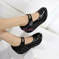 Womens Leather Mary Jane Pumps Round Toe ph Wedge Heel Nurse Wedge Shoes Fashion