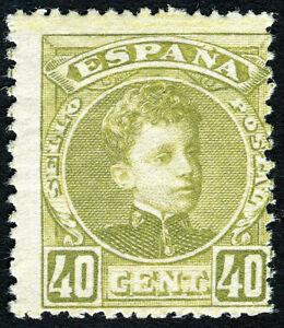 ESPAÑA 1901. Alfonso XIII. Tipo Cadete. 40 céntimos oliva. Nuevo*. Edifil 250.