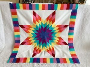 Rainbow Lone Star Patchwork Quilt Top #LS-030 Made in U S A