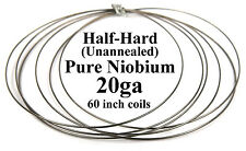 "Pure Niobium Wire, 20 gauge (.031""dia/.8mm/20ga AWG), 5ft, Half-Hard, Unannealed"