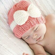 Newborn Baby Girls Boy Infant Toddler Bow Knit Crochet Hat Winter Warm Beanie