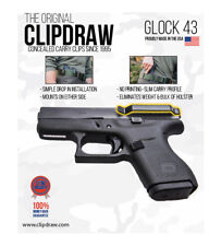 Clipdraw Belt Clip for Glock 43 9mm IWB Black Ambidextrous G43-B Clip Holster