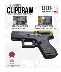 Clipdraw Belt Clip for GL0CK 43 43X & 48 9mm IWB Black Ambidextrous Clip Holster