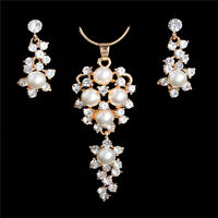 Chic 18k Gold Filled Austrian Crystal Pearl Flower Jewelry Set Necklace Earrings