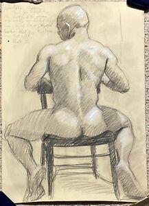 Original Charcoal Signed Mark B ?( Mark Bread )? Back of Male Seated Figure