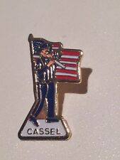 CASSEL American Flag Pipe Player Flute Stars & Stripes Enamel Pin Badge