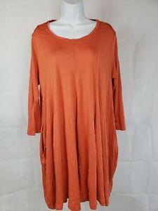 NWT $124 Rundholz Black Label Orange Long Sleeve Tunic Dress w/ Pockets Sz XL