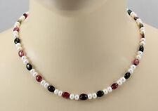 Perlenkette mit Turmalin weiße Süßwasser-Perlen mit rosa grünen Turmalinen 47 cm