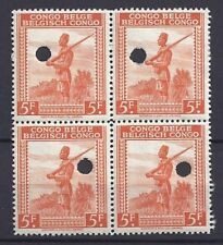 Congo Belge**WATERLOW SONS FILE COPY Perforated-BLOCK 4vals-1942-COB243-SPECIMEN