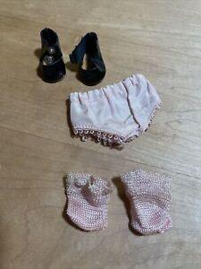 Vintage UnTagged Vogue Ginny Pink Panties, Pink Socks & Black Center Snap Shoes
