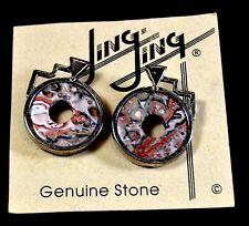 NEW Sterling Silver Lepard Skin Jasper Stone Designer Earrings JingJing