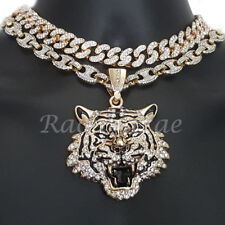 "Iced Anchor Tiger Pendant 16"" Iced Choker 18"" Puffed Gucci Chain Set G57"