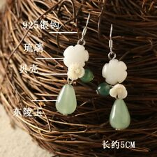 Pure 925 Sterling Silver with Aventurine Raindrop Drop Earrings Oriental culture
