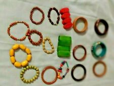 Mixed Lot 17 Wood Wooden Bead Bracelets Stretch Bangles Textured Painted Multi C