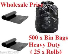 500 x Heavy Duty Bin Bags 25 x Rolls Bin Liner Refuse Sacks WholeSale Price