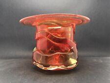 MDINA Art Glass Vase With Wide Rim - Orange Trails