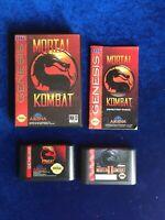Sega Genesis Game Lot Mortal Kombat 1 & 2 Case Manual Tested Working Great