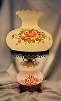 """Vintage Hurricane 3 Way Electric Lamp Accurate Casting Co Floral Flowers 21""""H"""
