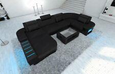Stoff Sofa Couchgarnitur Wohnlandschaft Recamiere BELLAGIO U LED Beleuchtung