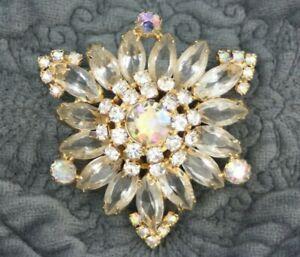 Juliana D & E Gold Clear AB Open Back Rhinestone Triangular Brooch