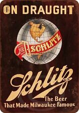 "Schlitz Beer on Draught Rustic Retro Metal Sign 8"" x 12"""