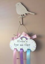 Personalised Magical Sparkly Rainbow Cloud Sign Hair Clip Bow Holder Organiser