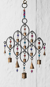 Windchime with Bells and Beads H39xW23cm Recycled Iron Great Home-Garden Decor