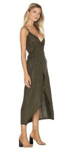 Sir The Label Khaki Linen 'Gigi Wrap' Dress Size 0 NEW WITH TAGS
