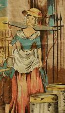 Vintage New Irish Linen Tea Towel Cries of London Steets Milkmaid Pretty Lady