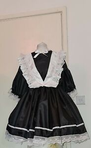 Sissy Black Satin Maids Dress any size to requirements
