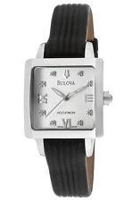 Bulova Accutron 63P100 Massella Diamond Leather Band Square Women's Watch $550