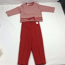 Sears Size 4 Two Piece Vintage Toddler Outfit Red White Striped Top Red Pants