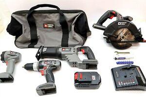 PORTER CABLE 18V Cordless Tool SET Lot Drill, Circular, Reciprocating Flashlight