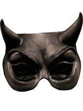 Evil Eye Half Face Mask with Horns Black Latex Fancy Dress Adult