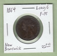 1864 New Brunswick One Cent - Long 6 - F-15