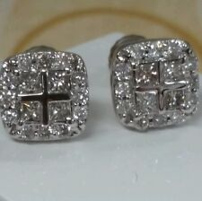 14k diamond earrings 0.80ct G VS1 screw backs. unique&classic 9x9mm ,European ,