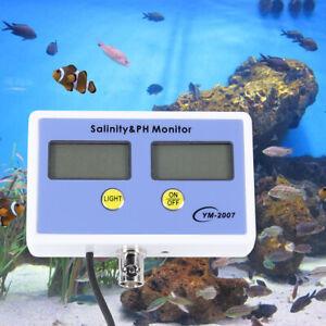 2 in1 Digital Salinity + PH Meter Water Quality Monitor Test pH For Aquarium New