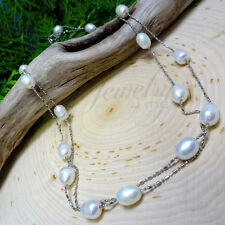 Genuine Pearl Station Stainless Steel Necklace