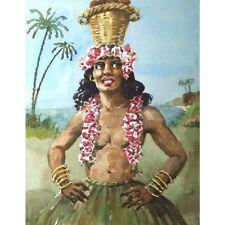 Unframed Unsigned 50s Watercolour Portrait Creole Woman Natures Raiment 35 x 26