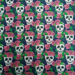 NAVY BLUE SKULLS ROSES FABRIC REMNANT 50 cms x 112cms  POLY COTTON  HALLOWEEN