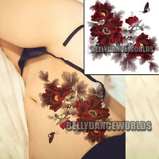LARGE RED PEONY FLOWERS BODY ART TATTOO TEMPORARY FLORAL STICKER SCAR COVER